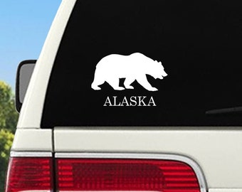 Alaska Bear Car Decal, Alaska Bear Car Sticker, Alaska Car Decal, Alaska Car Decal Sticker