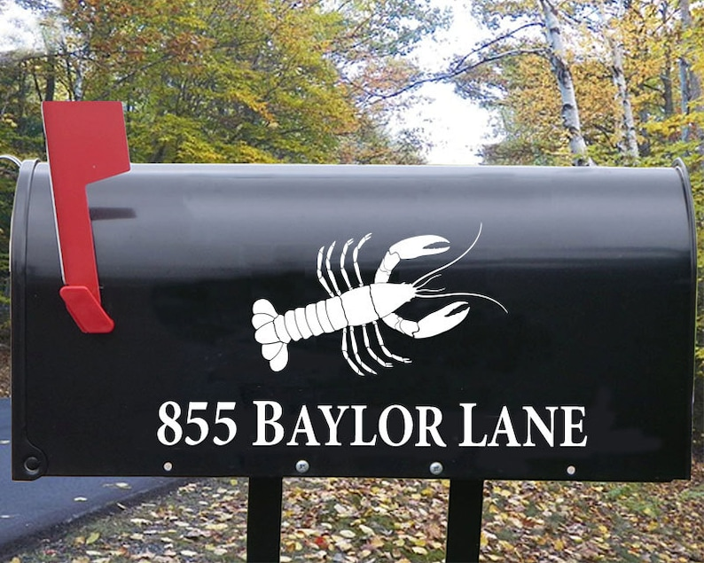 Mailbox Decal Sticker Nautical Decor Mailbox with Lobster Decal -  personalized with your address