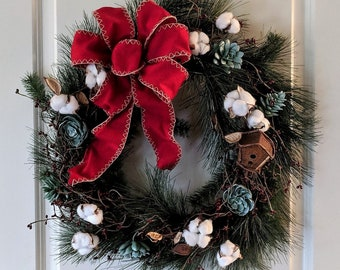 Rustic Succulent and Cotton Christmas Wreath