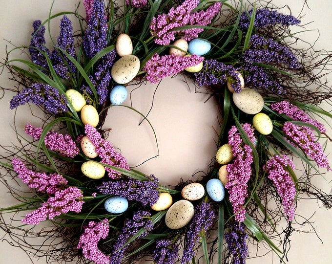 Featured listing image: Spring Grapevine Heather Egg Wreath