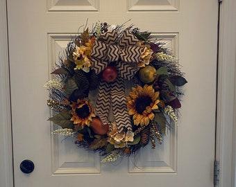 Fall Wreath for Front Door Silk Hydrangea Sunflower Heather Cones Berry