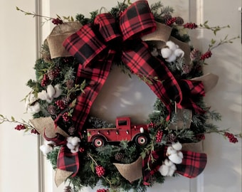 Red Truck Buffalo Rustic Christmas Wreath