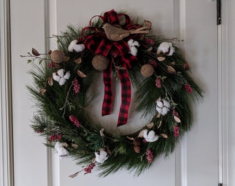 Berry and Cotton Christmas Pine Wreath with Buffalo Plaid Ribbon