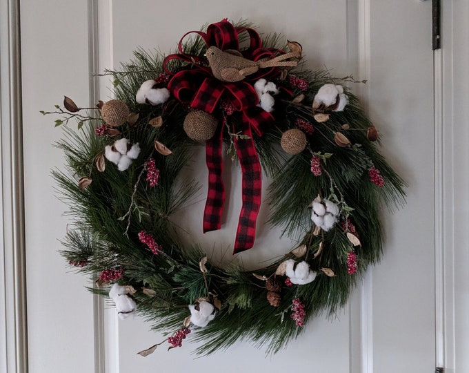 Featured listing image: Berry and Cotton Christmas Pine Wreath with Buffalo Plaid Ribbon