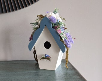 Blue Cream Floral Painted Wood Birdhouse