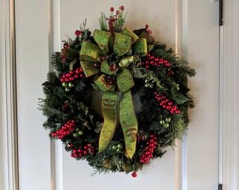 Christmas Pine Jeweled Wreath