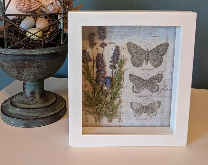Featured listing image: Pressed Flower Shadowbox White Painted Wood with Lavender and Rosemary