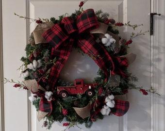 Red Truck Buffalo Rustic Christmas Wreath