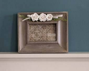 Gray Wood Picture Frame Embellished with Cream Paper Roses