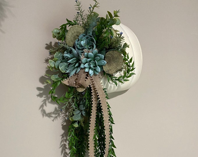 Featured listing image: Fall Succulent Pumpkin Greenery Wall Hanging
