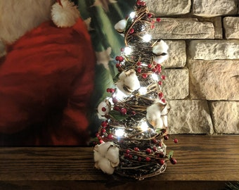 Farmhouse Christmas Tree Cotton Berries LED lights