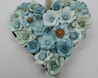Galvanized Heart Wall Art with Paper Flowers