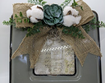 Farmhouse Metal Frame Cotton Bolls Succulents-Rustic Picture Frame with Artificial Flowers-Burlap Bow on gray Frame-Second Anniversary Gift