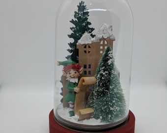 Elf House Cloche on Wood Base Christmas Tabletop Arrangement