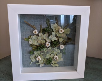 Natural Pressed Flower Shadowbox Hydrangea