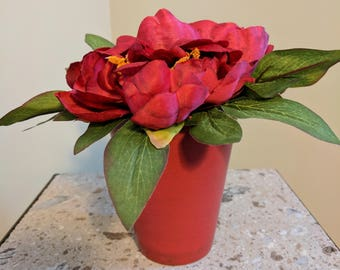 Red Peony in Ceramic Pot Silk Flower Arrangement