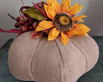 Burlap Fall Pumpkin with Sunflower