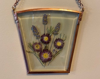 Hanging Pressed Dried Flower Art in Beveled Glass with Lavender and Daisies