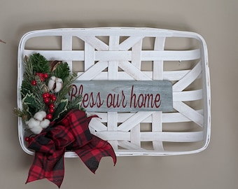 Christmas Wooden Tray 'Bless Our Home' Cotton Bolls Berries Evergreen