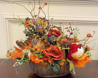 Artificial Fall Roses Berry Pumpkins Table Centerpiece