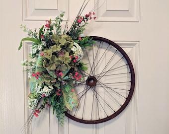 Spring Summer Silk Flower Front Door Bicycle  Wreath
