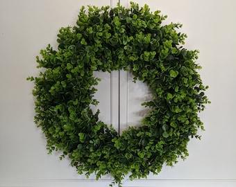 Year Round Front Door Boxwood Wreath