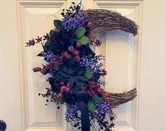 Fall Crescent Moon Halloween Wreath for Front Door