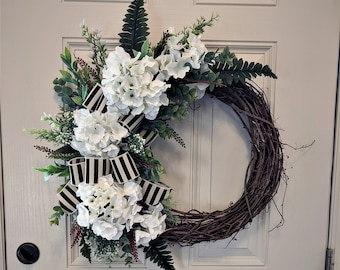 Spring Silk Flower Front Door Grapevine Wreath Hydrangeas Greenery