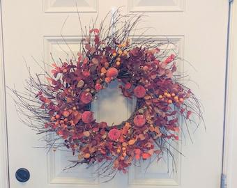 Fall Wreaths for Front Door Silk Fall Eucalyptus Berry