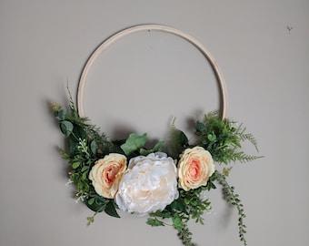 Silk Flower Embroidery Hoop Wall Art Peony Rose Amaranthus