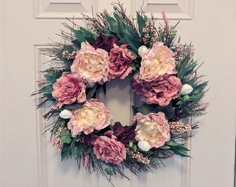 Spring Silk Flower Front Door Grapevine Wreath Peonies Greenery