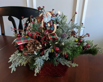 Santa Metal Christmas Centerpiece with Evergreens Berries Pine Cones