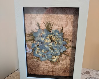 Pressed Flower Shadowbox Painted with Blue Hydrangeas