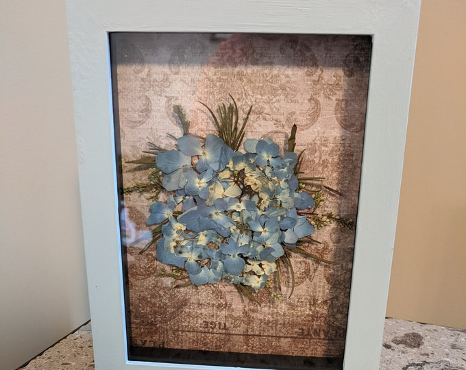 Featured listing image: Pressed Flower Shadowbox Painted with Blue Hydrangeas