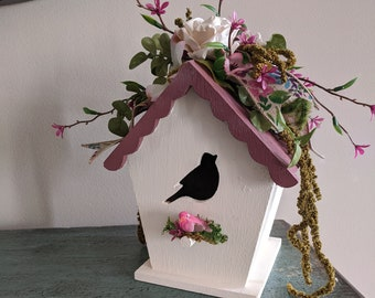 Rose Cream Floral Painted Wood Birdhouse
