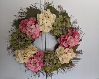 Spring Summer Silk Flower Front Door Grapevine Wreath Hydrangeas Greenery