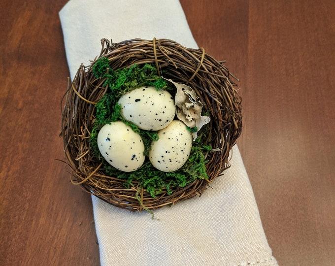 Featured listing image: Bird Nest Napkin Ring Eggs