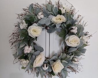 Year Round Silk Flower Front Door Grapevine Wreath Lambs Ear Roses Cotton Bolls