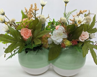 Easter Spring Ceramic Two Egg Artificial Flower Centerpiece