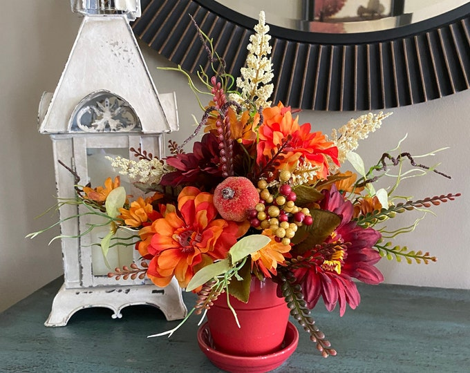 Featured listing image: Artificial Fall Zinnia Heather Gerbera Daisy Berry Table Centerpiece