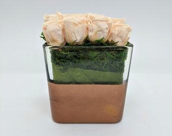 Preserved Cream Mini Roses Arrangement in Glass Cube Vase