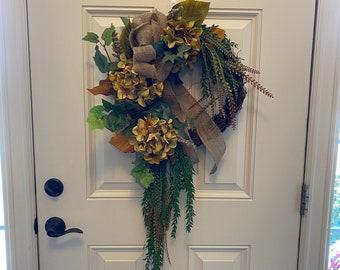 Fall Wreath for Front Door Silk Hydrangea Heather Burlap