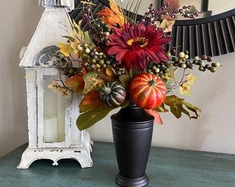 Artificial Fall Gerberas Pumpkins Table Centerpiece