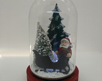 Santa House Cloche on Wood Base
