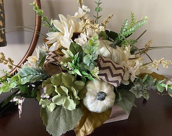 Artificial Fall Sunflower Hydrangea Pumpkin Delphinium Table Centerpiece