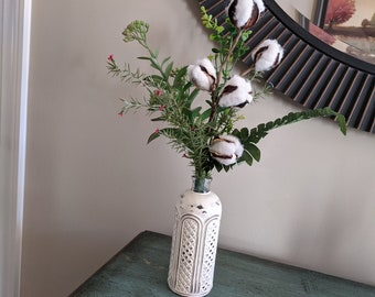 Vintage Glass Painted Vase Cotton Stems Succulent Fern Rosemary