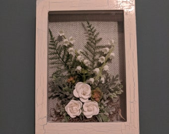 Crackle Finish Shadowbox with Paper Roses and Ferns