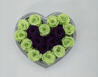 Preserved Lime Green Purple Mini Roses Arrangement in Glass Heart Vase