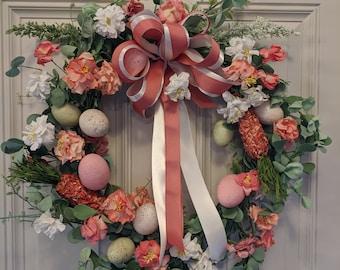 Spring Easter Paper Flowers Front Door Wreath