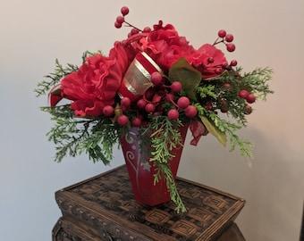 Red Peony Christmas Tin Arrangement